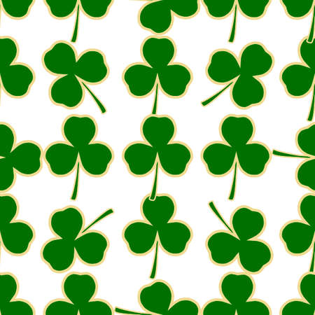 Illustration on theme Irish holiday St Patrick day, seamless green shamrock clover. Pattern St Patrick day consisting of many identical shamrock clover. Green shamrock main clover for St Patrick day.