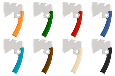 Illustration on theme big kit steel axes with wooden handle, metal ax for hunting. Pattern ax consisting of many different axes on white background. Forged axes it main accessory male, ax for survival