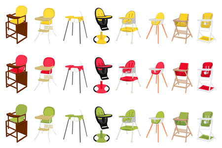 Illustration on theme colorful modern child high chair for baby feeding. Drawing consisting of collection colored layouts child chair on high legs. Kit stylish child accessory it bright high chair.