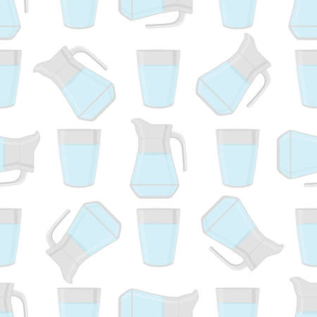 Illustration on theme colored set identical types glass jugs for drinking water. Water pattern consisting of collection kitchen accessory, same glass jugs to organic food. Tasty water in glass jugs. Ilustración de vector