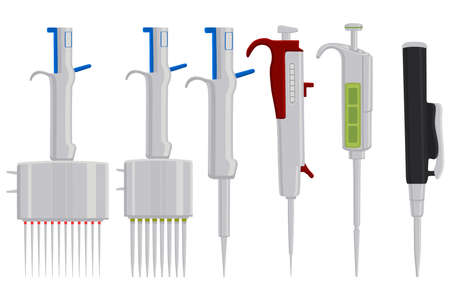 Illustration on theme big kit different medical pipette, dropper for laboratory. Pattern dropper consisting of many laboratory medical pipette on background. Medical pipette it dropper from laboratory