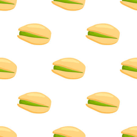 Illustration on theme big pattern identical types pistachio, nut equal size. Pistachio pattern consisting of fresh nut for colored print on wallpaper. Abstract colorful pattern from many nut pistachio