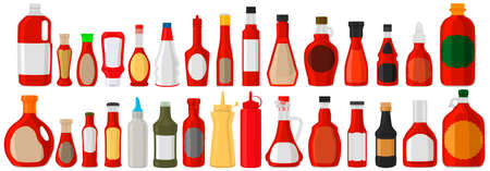 Illustration on theme big kit varied glass bottles filled liquid sauce chili. Bottles consisting from sauce chili, empty labels for titles. Sauce chili in full bottles with plastic cork to fast meal. Çizim