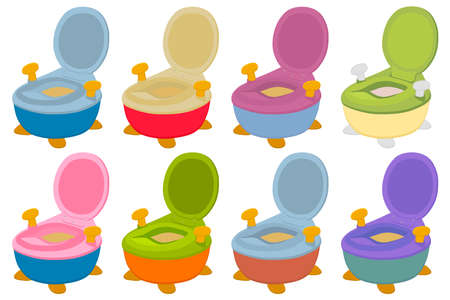 Illustration on theme kit plastic baby pots with comfortable handle, kid potty for wc. Pattern potty consisting of many different plastic pots in wc. Plastic pots it main accessory child, potty to wc.