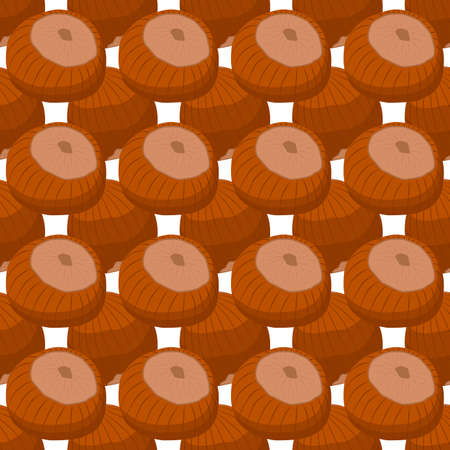 Illustration on theme big pattern identical types hazelnut, nut equal size. Hazelnut pattern consisting of natural nut for colored print on wallpaper. Abstract colorful pattern from many nut hazelnut.