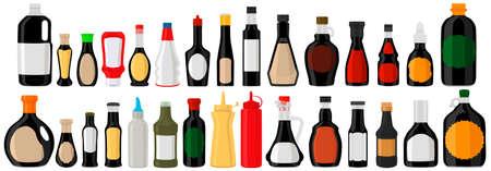 Illustration on theme big kit varied glass bottles filled liquid balsamic vinegar. Bottles consisting from balsamic vinegar, empty labels for titles. Vinegar balsamic in full bottles with plastic cork