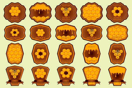 Illustration on theme for big set label of sugary flowing down honey in honeycomb with bee. Label pattern consisting from kit sticky honey at honeycomb off bee. Honey in bee honeycomb to bright label.