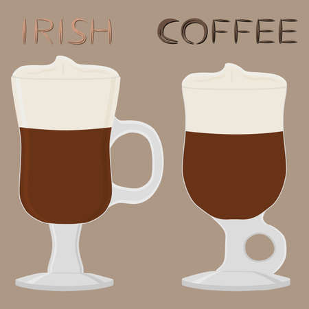 Illustration on theme for cream cocktail Irish coffee in glass cup with foam. Cocktail pattern consisting of cold Irish coffee with whiskey, whipped soft cream. Cocktail Irish coffee in tasty cream.