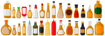 Illustration on theme big kit varied glass bottles filled thick sauce mustard. Bottles consisting from sauce mustard, empty labels for titles. Sauce mustard in full bottles with plastic cork to meal. Çizim