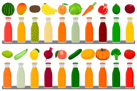 Illustration on theme big kit glass bottles with caps filled liquid multicolored fruit juice. Glass bottles consisting of tasty natural fruit juice. Fruit juice in new glass bottles for strong health.