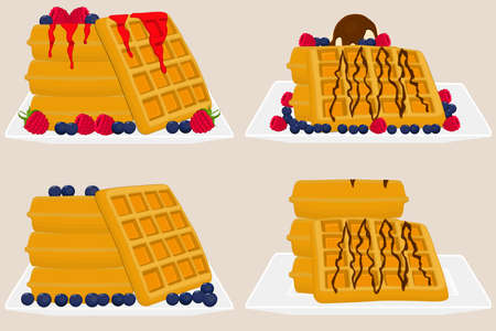 Illustration on theme ice cream on waffle with cell, dessert appetizing cookie. Waffle consisting of tasty shaped cookie, fresh soft ice cream. Waffle from cold white ice cream it natural yummy cookie