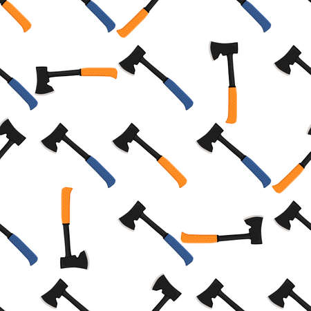 Illustration on theme pattern steel axes with wooden handle, metal ax for hunting. Big kit ax consisting of many identical axes on white background. Forged axes it main male accessory, ax for survival