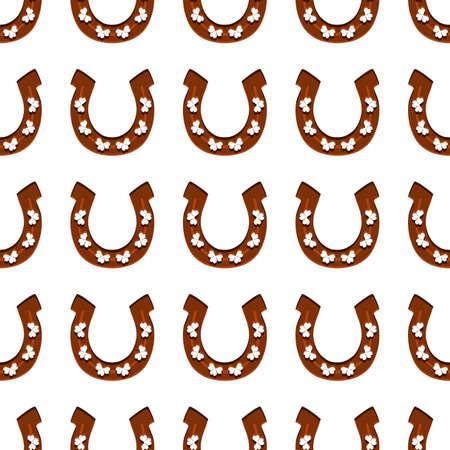 Illustration on theme Irish holiday St Patrick day, seamless horseshoes. Pattern St Patrick day consisting of identical horseshoes on white background. Horseshoes it main accessory for St Patrick day.