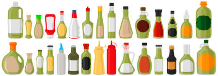 Illustration kit varied glass bottles filled liquid sauce guacamole. Bottles consisting from guacamole sauce, empty labels for titles. Sauce guacamole in full bottles with plastic cork to fast meal. Vector Illustratie
