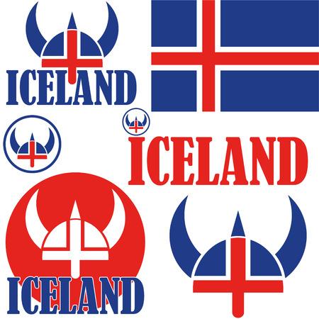 IJsland vlag en symboolconcept