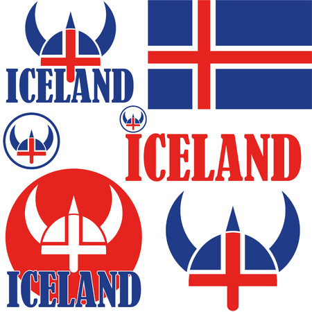 Iceland flag and symbol concept  Illustration