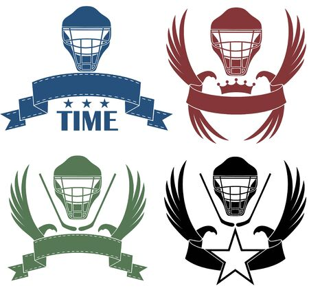 burgundy ribbon: Icona Hockey Vettoriali