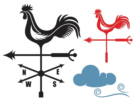 roosters: Weather Vane Illustration