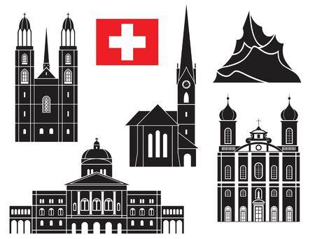 european alps: Switzerland illustration Illustration