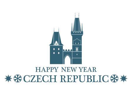 the czech republic: Greeting Card. Czech Republic Illustration