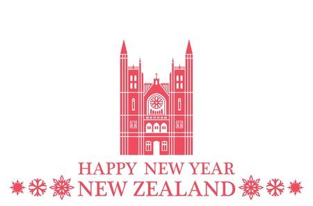 Happy New Year New Zealand Illusztráció