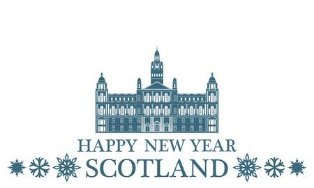 Happy New Year Scotland Illustration