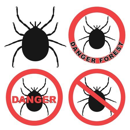 mite: Mite Warning Sign. Tick. Icon