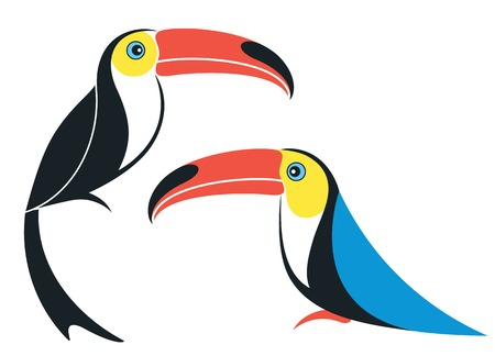 nestling birds: Toucan. Cartoon