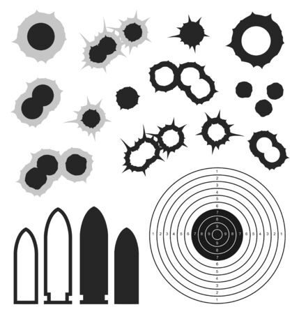 holes: Bullet holes. Bullet. Target. Icon Illustration