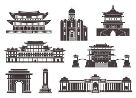Oost-Azië. Geïsoleerde Aziatische gebouwen op witte achtergrond