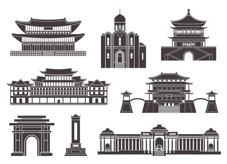East Asia. Isolated Asian buildings on white background Illustration