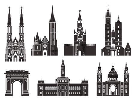 Eastern Europe. European buildings on white background