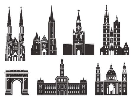 Eastern Europe. European buildings on white background