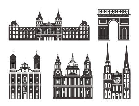 Western Europe. European buildings on white background