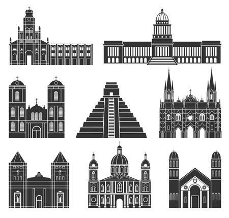 Central America. American buildings on white background