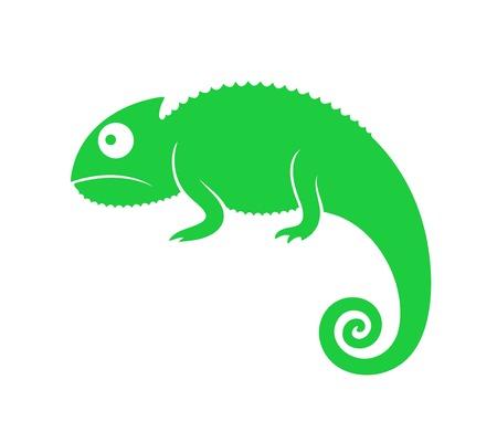 Green chameleon. Abstract chameleon on white background Çizim