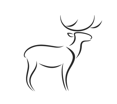 Deer outline. Abstract deer on white background