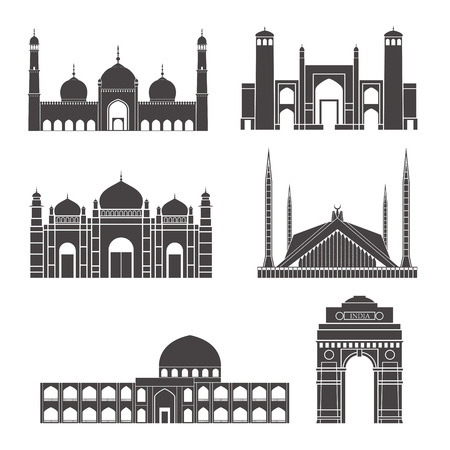 Set of different architecture building isolated in white background. Çizim