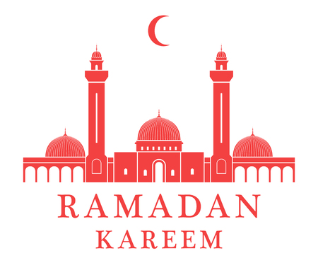 Red silhoutte Mosque with text, Ramadan Kareem