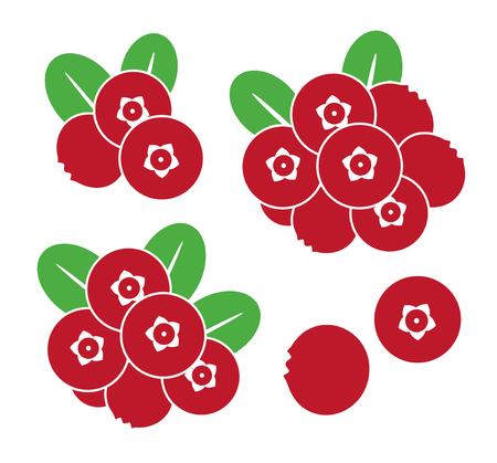 Cranberry. Icon set. Abstract cranberry on white background Illustration