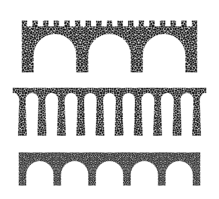 Stone bridge isolated on white background Vectores