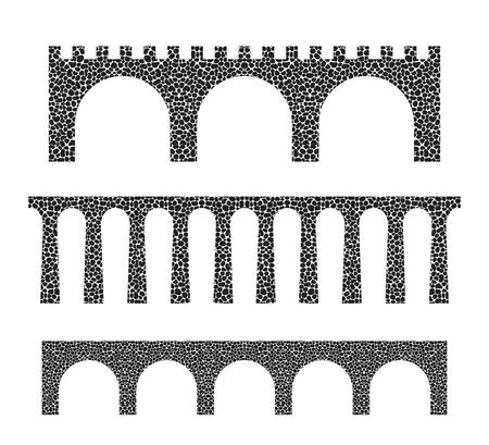 Stone bridge isolated on white background Illusztráció