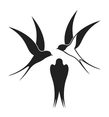 Swallow set. Golondrina aislada sobre fondo blanco Ilustración de vector