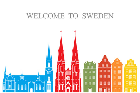 Sweden set. Isolated Sweden architecture on white background