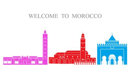 모로코 설정합니다. 흰색 배경에 고립 된 모로코 아키텍처 일러스트