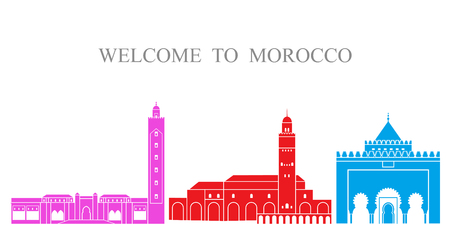 Morocco set. Isolated Morocco architecture on white background Иллюстрация