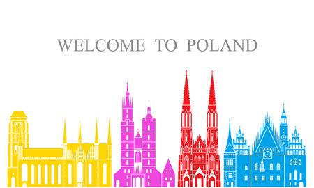 Poland set. Isolated Poland architecture on white background