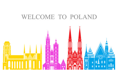 Poland set. Isolated Poland architecture on white background