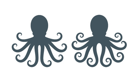 Octopus silhouet. Geïsoleerde octopus op witte achtergrond