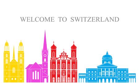 Isolated Switzerland architecture on white background